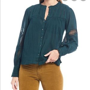 NWT Free People Emma Lace Inset Button Down Shirt